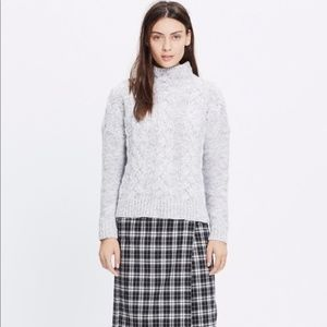 Madewell Observatory Funnelneck Grey Knit Sweater